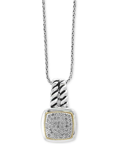 EFFY Collection Balissima by EFFY® Diamond Cluster Pendant Necklace (1/5 ct. t.w.) in Sterling Silver & 18k Gold