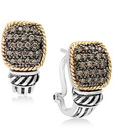 Balissima by EFFY® Diamond Pavé Cluster Drop Earrings (1/3 ct. t.w.) in Sterling Silver & 18k Gold