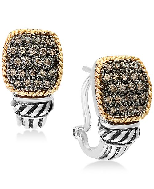 EFFY Collection Balissima by EFFY® Diamond Pavé Cluster Drop Earrings (1/3 ct. t.w.) in Sterling Silver & 18k Gold