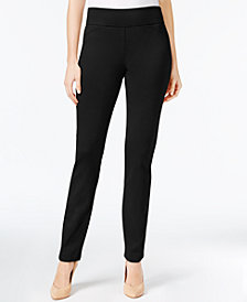 Charter Club Petite Cambridge Tummy-Control Ponte Slim-Leg Pants, Created for Macy's