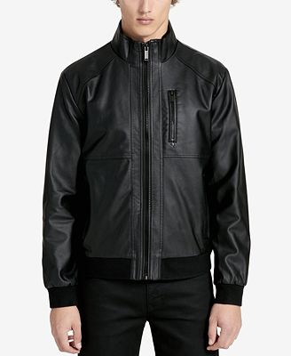 Calvin Klein Men's Faux-Leather Bomber Jacket - Coats & Jackets ...