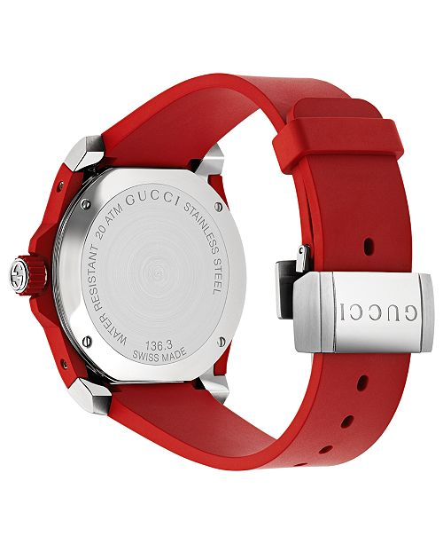 54dafc0ff37 ... Gucci Men s Swiss Dive Red Rubber Strap Watch 40mm YA136309 ...