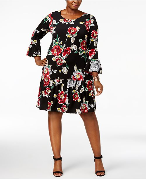 Connected Plus Size Ruffled Drop Waist Dress Dresses Macys