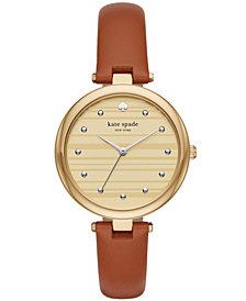 kate spade new york Women's Varick Cognac Leather Strap Watch 36mm