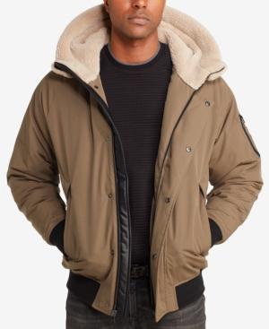 Sean John Men's Hooded Bomber Jacket In Olive