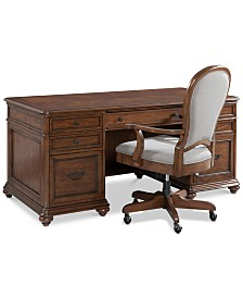 Clinton Hill Cherry Home Office Furniture, 2-Pc. Set (Executive Desk & Upholstered Desk Chair), Created for Macy's