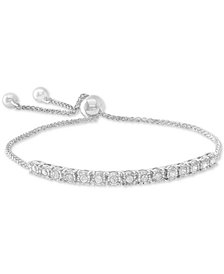 Wred Diamond Bolo Bracelet 1 2 Ct T W In Sterling Silver