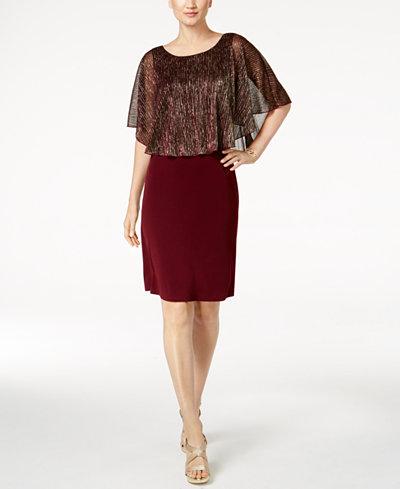 Connected Petite Metallic Cape Dress