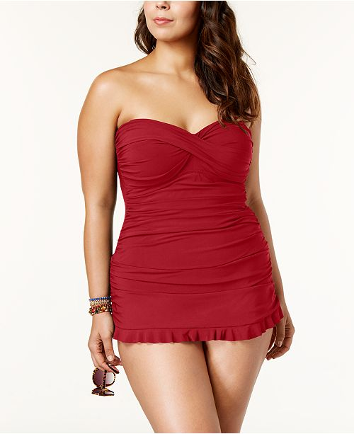 a27f6d5d40 ... Profile by Gottex Plus Size Tummy-Control Ruched Ruffled Swimdress ...