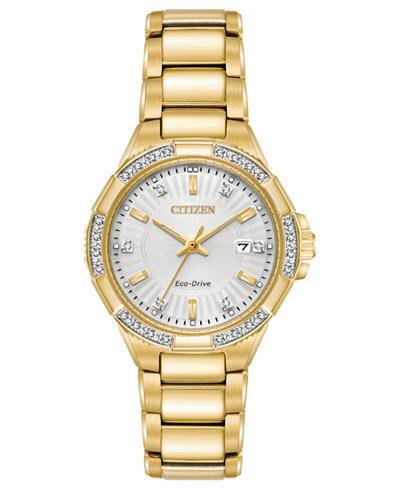 Citizen Eco-Drive Women's Diamond Accent Riva Gold-Tone Stainless Steel Bracelet Watch 30mm