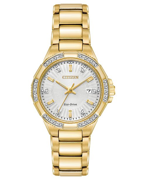 ... Citizen Eco-Drive Women s Diamond Accent Riva Gold-Tone Stainless Steel  Bracelet Watch ... 8b1798184b