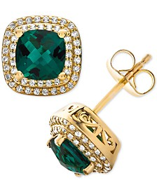 Lab-Created Emerald (1-1/2 ct. t.w.) & White Sapphire (1/3 ct. t.w.) Stud Earrings in 14k Gold-Plated Sterling Silver