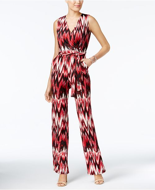 4bd364e4bfda NY Collection Petite Printed Wide-Leg Jumpsuit   Reviews - Pants ...