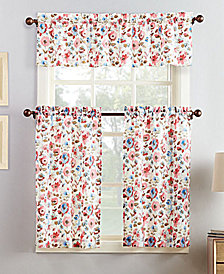 Lichtenberg No. 918 Deana 3-Pc. Floral-Print Microfiber Rod Pocket Kitchen Curtain Set