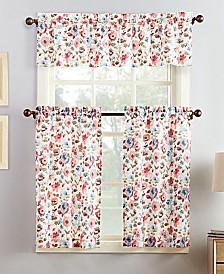 Lichtenberg No. 918 Deana 3-Pc. Floral-Print Microfiber Rod Pocket Kitchen Curtain Set