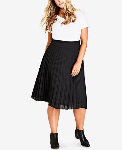 City Chic Trendy Plus Size Pleated Chiffon Skirt