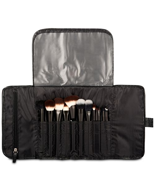 Black Croc Embossed Brush Roll Bag