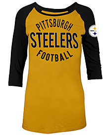 5th & Ocean Women's Pittsburgh Steelers Rayon Raglan T-Shirt