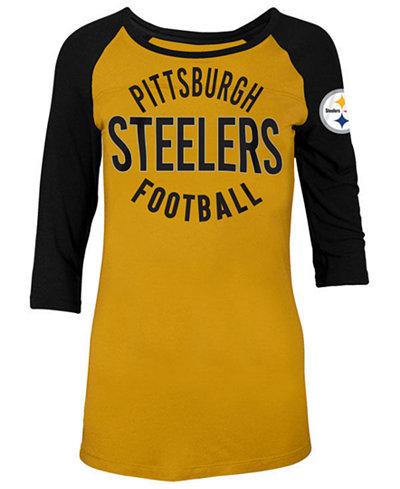 5th & Ocean Women's Pittsburgh Steelers Rayon Raglan T-Shirt