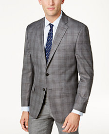 CLOSEOUT! Lauren Ralph Lauren Men's Classic-Fit Gray Plaid Ultraflex Sport Coat
