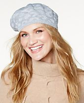 I.N.C. Metallic Animal-Print Knit Beret, Created for Macy's