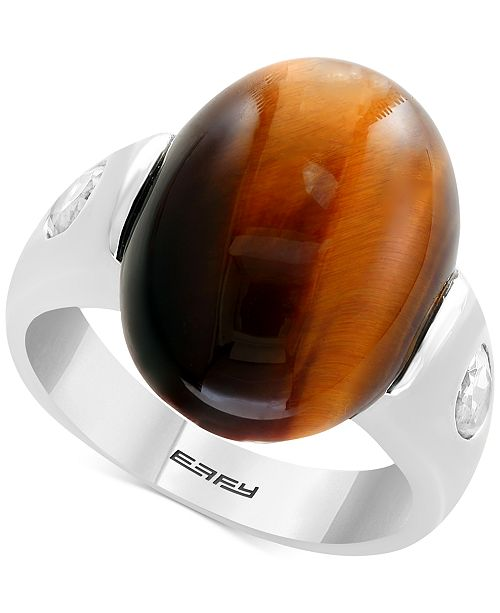 EFFY® Men's Tiger's Eye & White Topaz (1-1/10 ct. t.w.) Ring in Sterling Silver