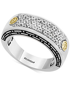 EFFY® Men's White Sapphire Cluster Ring (1 ct. t.w.) in Sterling Silver & 18k Gold