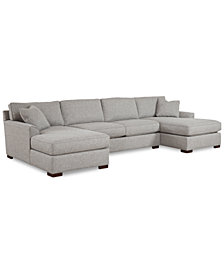 Furniture Carena 3 Pc Fabric Sectional Sofa With Double Chaise