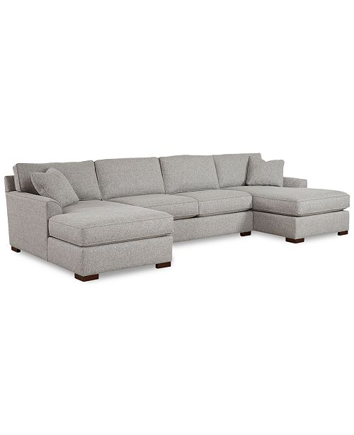 Furniture Carena 3-Pc. Fabric Sectional Sofa with Double Chaise ...