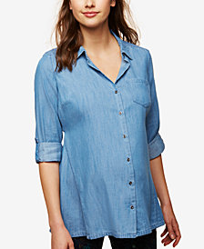 Motherhood Maternity Button-Front Chambray Tunic