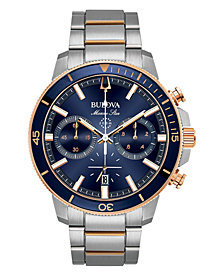 Bulova Men's Chronograph Marine Star Two-Tone Stainless Steel Bracelet Watch 45mm