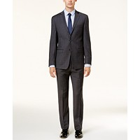 Calvin Klein Mens Slim-Fit Dark Gray & Blue Plaid Suit
