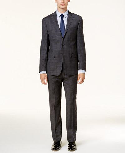 Calvin Klein Men's Slim-Fit Dark Gray & Blue Plaid Suit - Suits ...