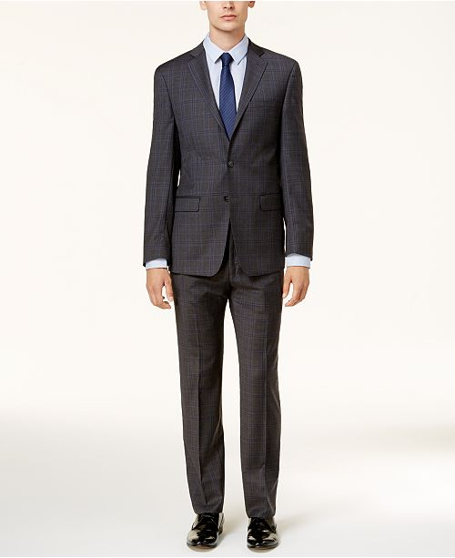 Calvin Klein Men's Slim-Fit Dark Gray & Blue Plaid Suit