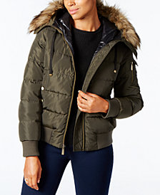 MICHAEL Michael Kors Faux-Fur-Trim Hooded Bomber Coat