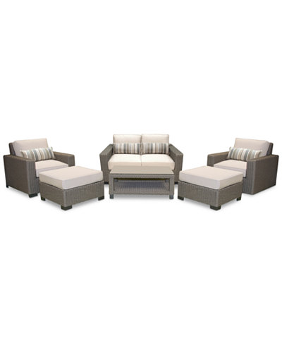 Del Mar 6-Pc. Set (1 Loveseat, 1 Club Chair, 1 Swivel Club Chair, 2 Ottoman & 1 Coffee Table), Created for Macy's