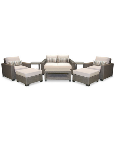 Del Mar 8-Pc. Set (1 Loveseat, 2 Club Chairs, 2 Ottoman, 1 Coffee Table & 2 End Tables), Created for Macy's