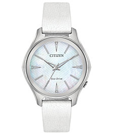 Citizen Eco-Drive Women's Silhouette Limited Edition Billie Jean King MODENA White Leather Strap Watch 35mm