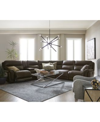 Summerbridge 5-Pc. Leather Sectional Sofa with 2 Power Reclining Chairs, Power Headrests, and Console with USB Power Outlet