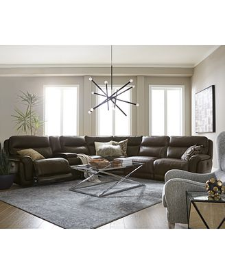 Summerbridge Leather Sectional Sofa Collection With Power