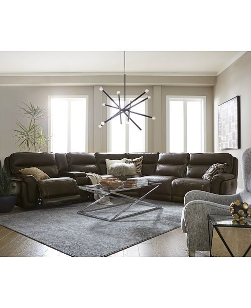 Furniture Summerbridge 6 Pc Leather Sectional Sofa With 3 Reclining Chairs Headrests And Console Usb Outlet Macy S