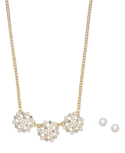 Charter Club Gold-Tone Crystal & Imitation Pearl Jewelry Set, Created Macy's