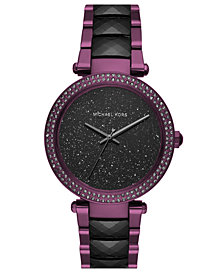 Michael Kors Women's Parker Plum Stainless Steel & Black Acetate Bracelet Watch 39mm, Created for Macy's
