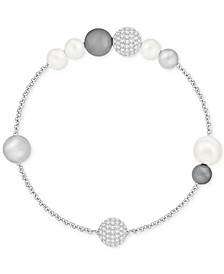 Remix Collection Pavé Ball & Imitation Pearl Flex Bracelet