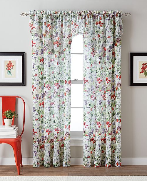 "CHF Botanical Garden 51"" x 63"" Crushed Voile Tailored Window Panel"