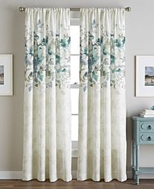 "Reversible Watercolor Floral-Print 50"" x 84"" Rod Pocket Curtain Panel"