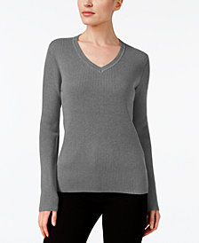 Karen Scott Petite Cotton Ribbed Sweater, Created for Macy's