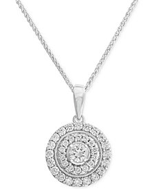 "Diamond Disc Pendant 18"" Necklace (3/4 ct. t.w.) in 14k White Gold"