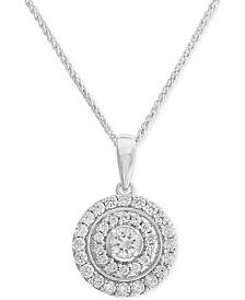 "Diamond Disc Pendant 18"" Necklace (3/4 ct. t.w.) in 14k White Gold"