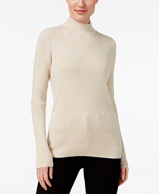 Karen Scott Cotton Ribbed Mock Neck Sweater Created For Macys